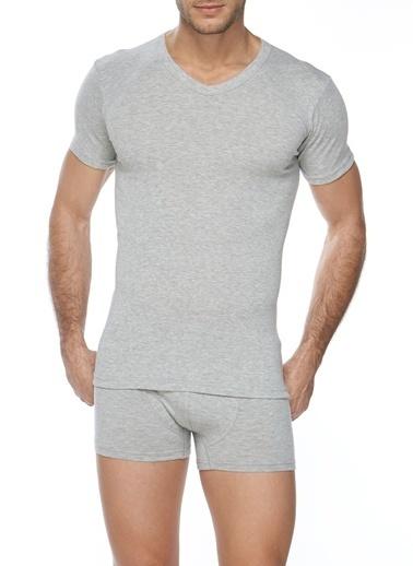 SVM Likralı V Yaka T-Shirt Gri
